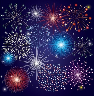 fireworks background template colorful dynamic sparkling design