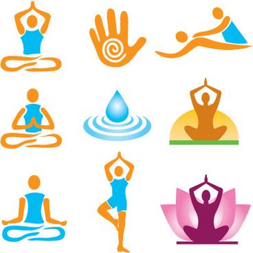 vector fitness with meditation logo set