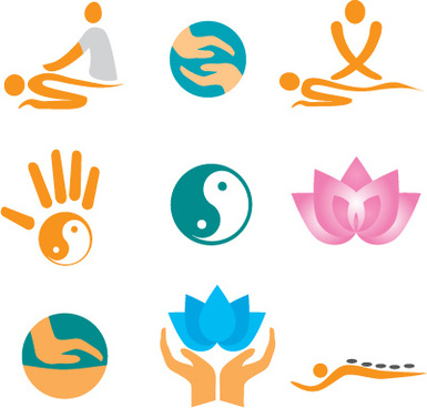 vector fitness with meditation logo set