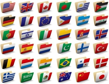 folders icons collection national flags decoration