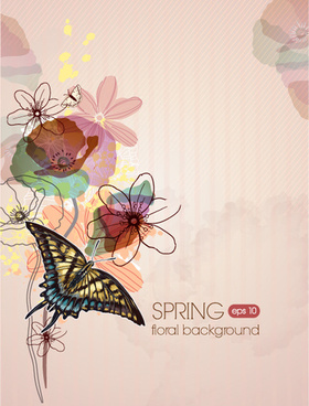 vector floral background art set