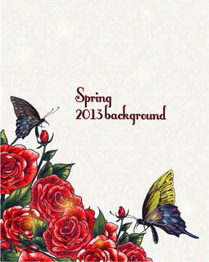 vector floral background art set