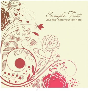 decorative background classical curves flowers icon sketch