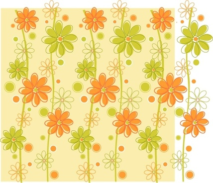 flowers backdrop green orange decor classical sketch
