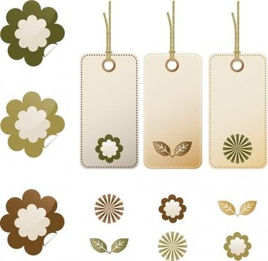 decorative hang tags templates elegant flora leaves decor