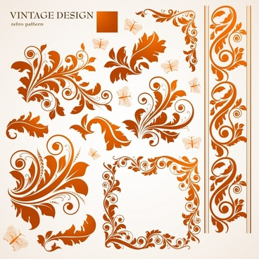 border design elements feather floral icons classical curves