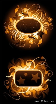 floral frames templates vivid sparkling light decor