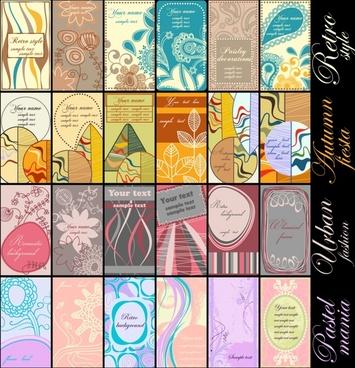 card templates colorful retro design flowers decor