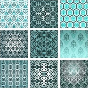 pattern templates collection colored symmetrical repeating decor
