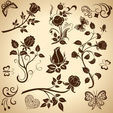 nature background butterfly flower icons classical decor