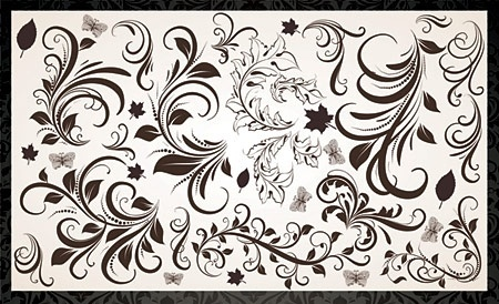 floral design elements vintage curves style