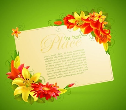 flowers card template colorful modern corner decor