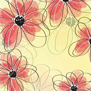 floral pattern template colored flat blurred handdrawn design