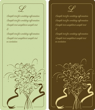 card templates classical design flowers icons sketch