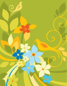 nature background flowers birds icons classical colored decor