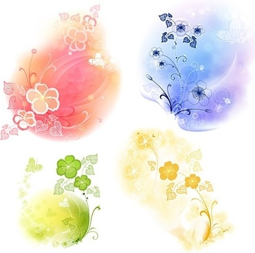 flowers background design elements colored shiny curves decoration
