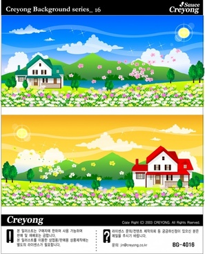 spring background sets blossom flowers icons multicolored design
