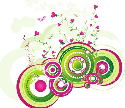 romantic flowers background colorful round hearts design