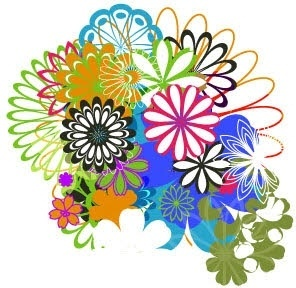 flowers background design various colorful rounded style