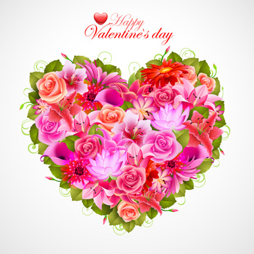 vector flowers heart design elements