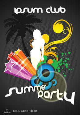 vector flyer summer party design elements