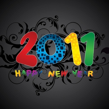 new year background colorful texts dark curves elements