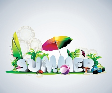 summer banner modern colorful 3d texts nature decor