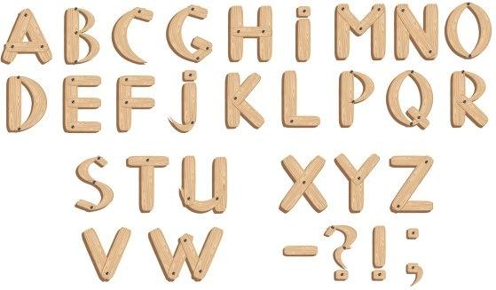 Vector fonts wood grain english