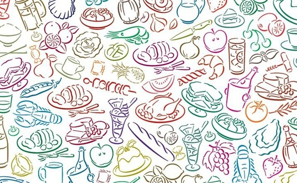 food pattern background colorful hand drawn sketch style