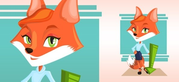 vector fox businesswoman