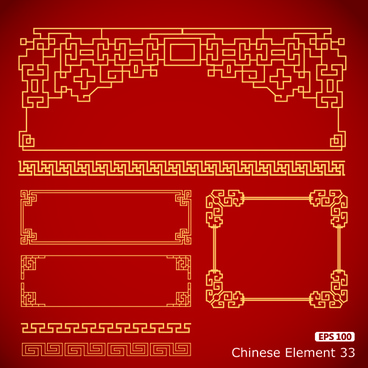 vector frame with borders chinese styles vector