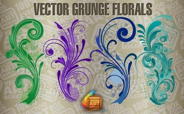 Vector Free Grunge Florals