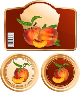 fruit labels templates peach icon modern colored shapes