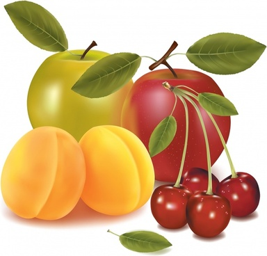 fresh fruits background shiny colored modern 3d design