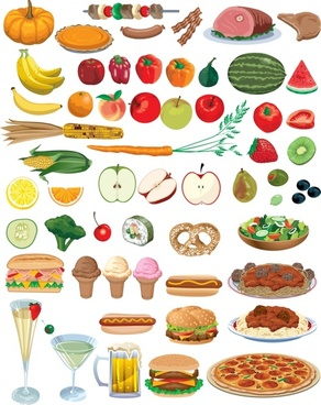 nutrition background food vegetables icons colored modern design