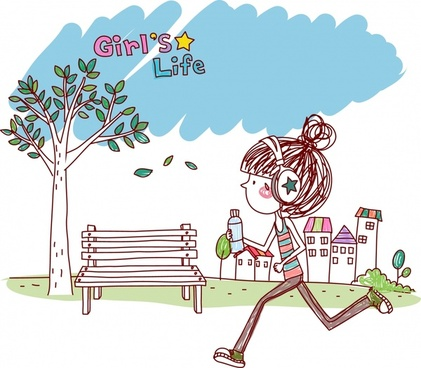 lifestyle painting exercising girl icon handdrawn cartoon sketch