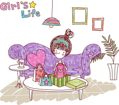 lifestyle drawing girl present icons colored handdrawn sketch