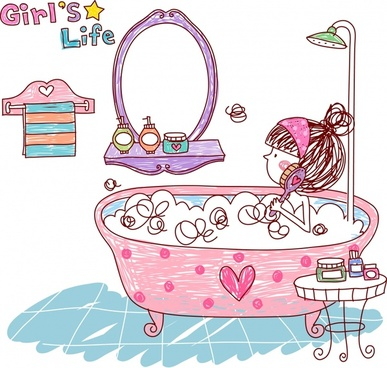 lifestyle painting bathing girl icon colorful handdrawn sketch