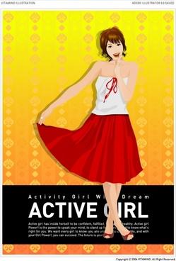 vector girl wearing a skirt