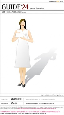vector girl wearing a white dress