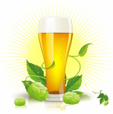 Vector glass of beer, hop cones and leaves