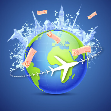 vector global travel design elements set