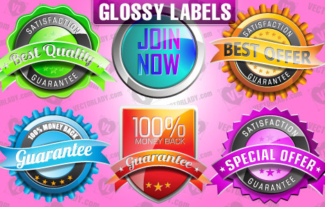 vector glossy labels