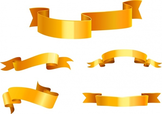 ribbon icons modern golden 3d design