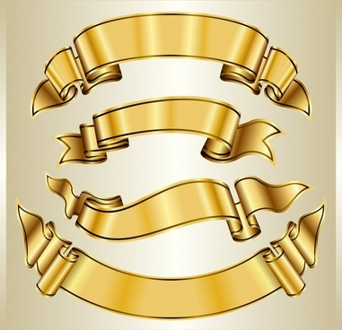 decorative ribbon templates elegant golden 3d design