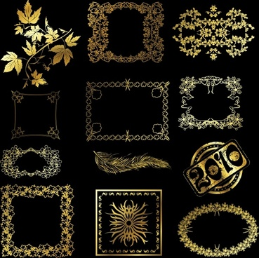 border design elements shiny golden decor