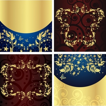 decorative pattern templates seamless golden leaves modern decor
