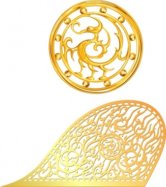 gold jewelry templates classical shiny decor