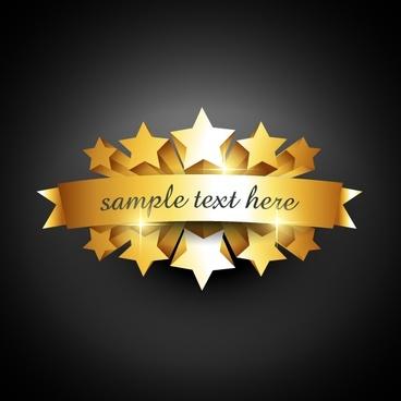 vector golden badge background stars