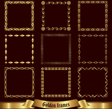 vector golden frame design